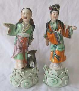 Pair antique Chinese import polychrome porcelain figures of woman, man & goat