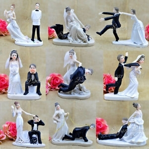 wedding cake toppers  raquo  Funny Wedding Cake Toppers Figurine Bride Groom Humor Favors Unique     Image is loading Funny Wedding Cake Toppers Figurine Bride Groom Humor