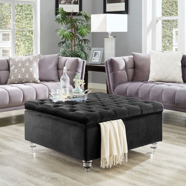 velvet oversized storage ottoman coffee table button tufted cocktail square