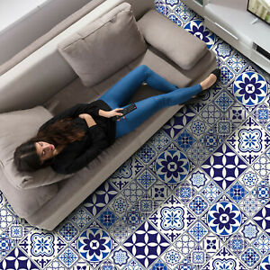 details about spanish and moroccan blue tiles self adhesive kitchen bathroom floor stickers