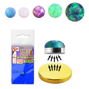 Fake Nasenpiercing Magnet Opalit Glitzer 3 mm auch für Lippe Helix Ohr Nase