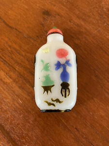 19th Century Chinese 5-Color Painted Milk Glass Snuff Bottle w/ Jade & Coral Lid