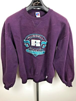 Image 1 - A1 Vintage Russell Athletic Purple Sweatshirt Size Large USA Made Embroidered