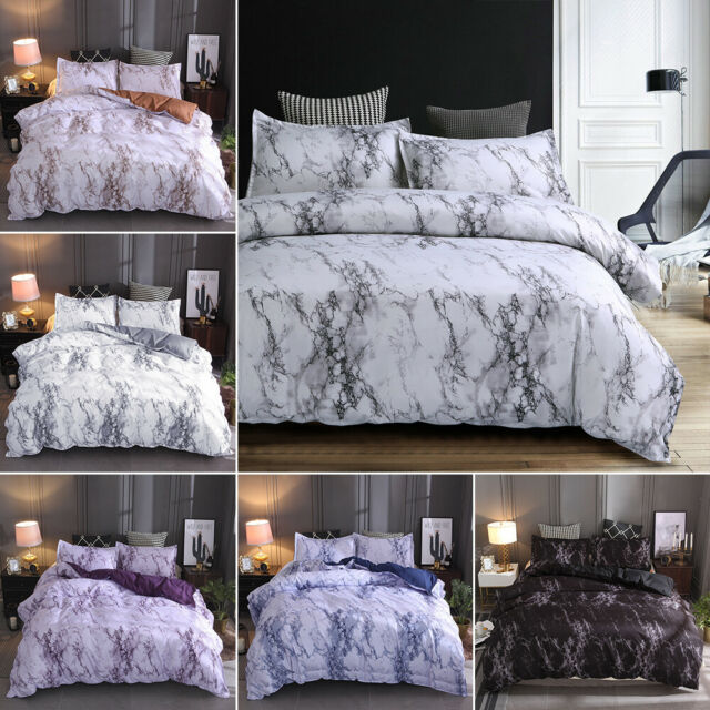 3 pieces marble printed comforter duvet cover set queen king bedding quilt set