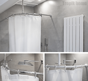 details about curved shower curtain rail pole rod with ceiling bracket and hooks various sizes