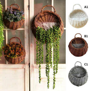Natural Decor Wicker Flower Basket Wall Hanging Pot ... on Decorative Wall Sconces For Flowers Hanging Baskets Delivery id=34101