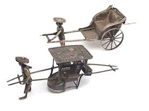 2 x Chinese Export Silver Sedan Chair and Rickshaw, c. 1900, Wang Hing & Luen Wo