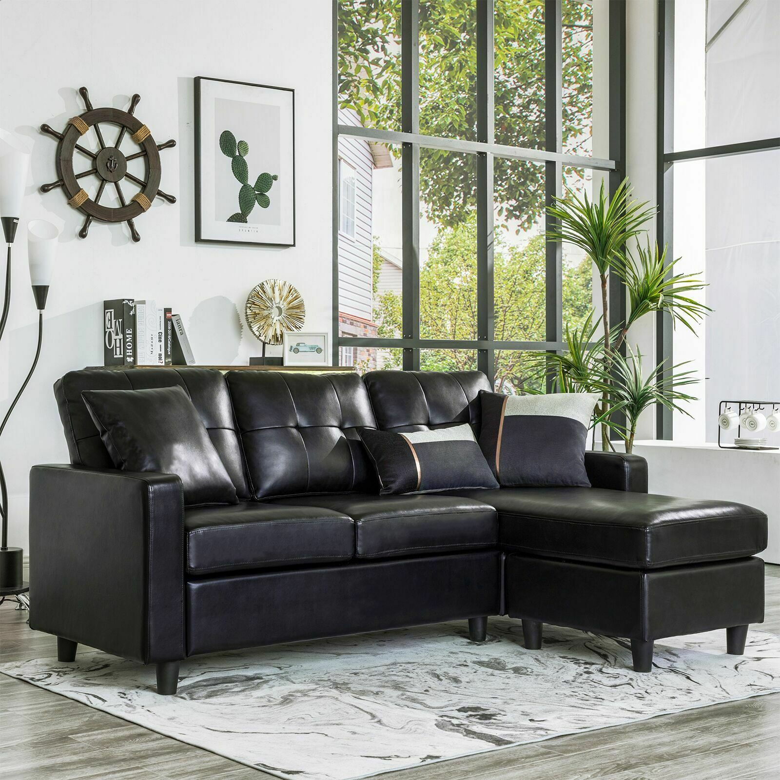 Black Faux Leather Sectional Sofa L Shaped Couch W Reversible Chaise Small Space
