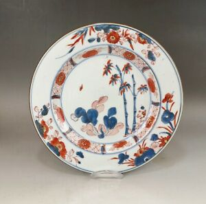 A very fine Chinese 18C blue&white&red plate (bamboo&cabbag
