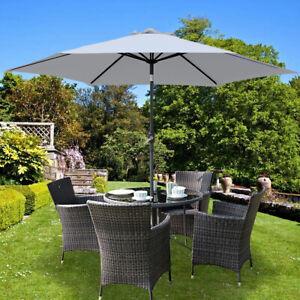 details about grey garden parasol round outdoor patio sun shade umbrella with crank tilt 3 m
