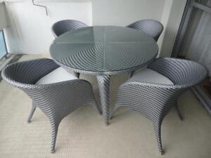 details sur lot de 2 chaises de salon jardin resine tresse design rotin gris neuf