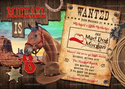 cowboy invitation western party wild west horse birthday invite ebay