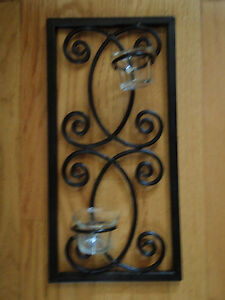 Wall decor metal rectangle with 2 cups metal sconce candle ... on Decorative Wall Sconces Candle Holders Centerpieces Ebay id=61427