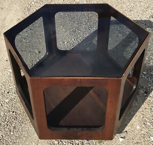 details about mid century modern lane hexagonal end coffee table with smoked glass top