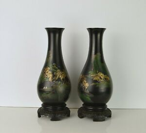 A PAIR OF CHINESE FOOCHOW LACQUER VASES WITH MARKS