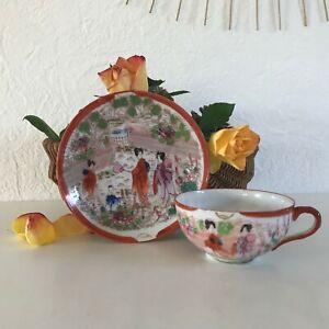 details sur ancienne tasse et sous tasse en porcelaine fine japonais made in japan