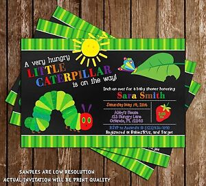 Details About Very Hungry Caterpillar Baby Shower Invitations 15 Printed W Envelopes