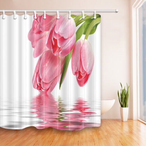 pink flower bow to kiss the water bathroom shower curtain fabric w 12 hooks 71 shower curtains home garden worldenergy ae