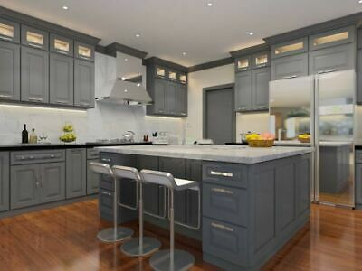 Classic Grey Kitchen Cabinets Sample Door Rta All Wood In Stock Ready To Ship Ebay