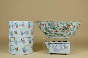 👀 Group Chinese Famille-Rose Porcelains.Ton