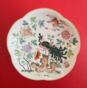 Antique Chinese Famille Rose Porcelain Footed Bowl Pheonix Tongzhi Period