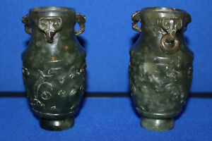 Antique Chinese Carved Solid Green Carved Dragon Jade Vessel Set ! 520 grams g !
