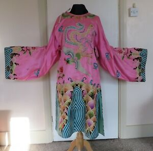 Chinese pink silk formal robe with embroidered bird and chrysanthemums