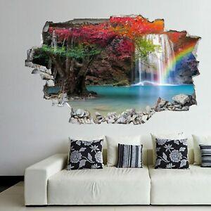 Lo trovi oggi in promozione su lightinthebox.com! Waterfall Wall Stickers Mural Decal Poster Nature View Rainbow Forest Gk21 Ebay