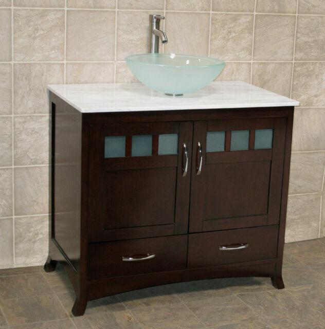 36 bathroom vanity 36 inch cabinet white top glass vessel sink faucet tr5