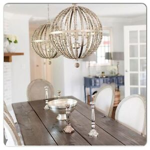 Image Is Loading French Modern Farmhouse Wood Bead Chandelier Globe Orb
