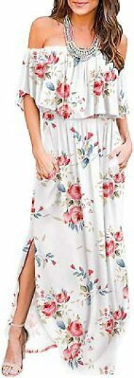 5 Summer Dresses You Need To Buy-LILBETTER Womens Off The Shoulder Ruffle Party Dresses Side Split Beach Maxi