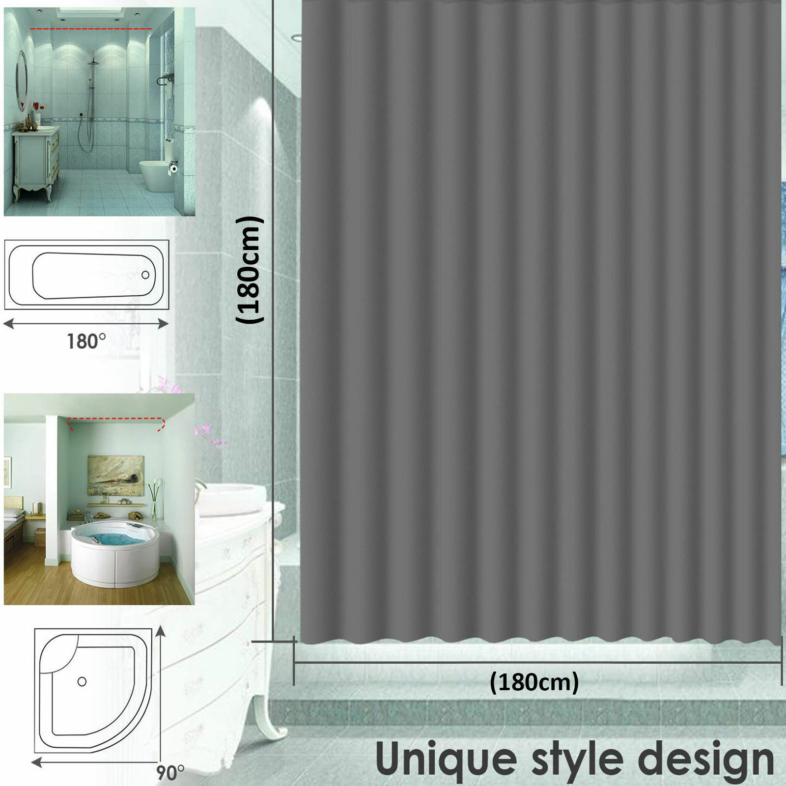 Details About Waterproof Bathroom Shower Curtain Extra Long 12 Hooks Ring Set 180x180cm Wl 176