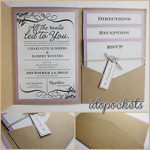 Details About Kraft Wedding Invitations Diy Pocketfold Envelopes Box Vintage Brown Invite