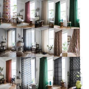details sur coton lin rideaux pour boho gland salle a manger chambre fenetre rideaux
