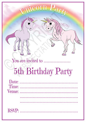 unicorn 5th birthday party invitations cards girls age 5 kids invites envelopes ebay