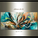 Abstract Art 86 – Teal Beauty Large wall art Oil painting on canvas, Large Art