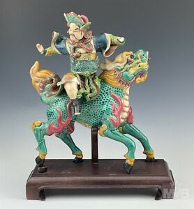 Chinese Painted Ceramic Pottery Warrior on Horse Glazed Pottery Roof Tile NR SMS