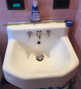 details about vintage 1950 s kohler white porcelain cast iron wall mount sink
