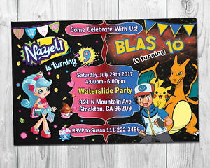details about shopkins pokemon double birthday party invite combo party invitation