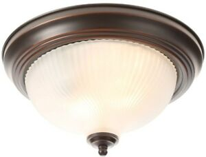 2 Light Bronze Flush Mount Round Ceiling Light Fixture Frosted Swirl     Image is loading 2 Light Bronze Flush Mount Round Ceiling Light