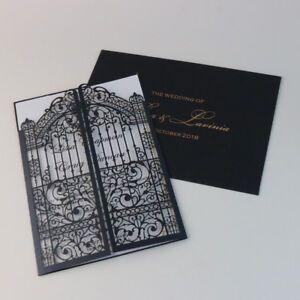 Details About 50 Laser Cut European Gate Fold Elegant Wedding Invitation Cards Envelope