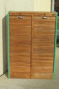 details sur classeur a rideau double en chene 1960s