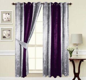 details sur rideaux anneaux oeillet pret fabrique double epais velours violet argent afficher le titre d origine