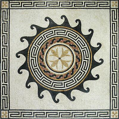 wave greek key flower creme floor tile marble mosaic geo1531 ebay