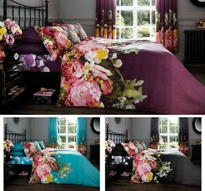 faded floral style modern duvet cover