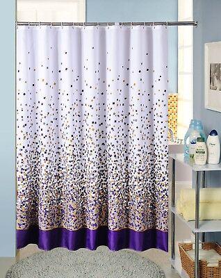 waterproof fabric bathroom shower curtain purple grey gold confetti white new