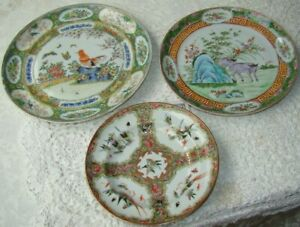3 -- 19th C. Chinese Export Famille Verte Porcelain Rose Medallion Plate As Is