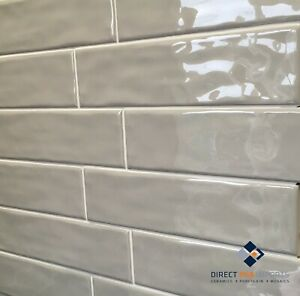 details about subway tiles metro light grey gloss 75x300mm sold per square metre