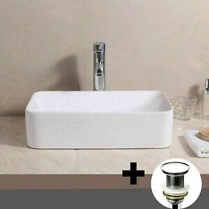 details about uk modern bathroom countertop rectangle bowl top ceramic basin sink waste plug