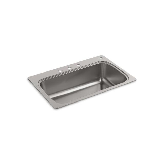 kohler verse drop in stainless steel 33 in 4 hole single bowl kitchen sink home